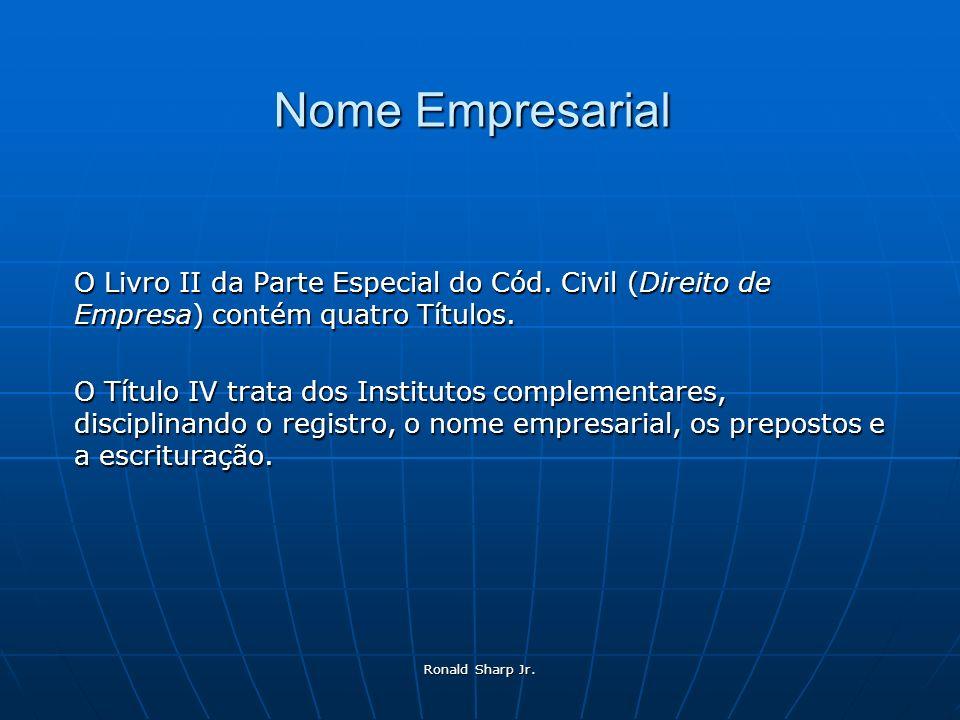 Ronald Sharp Jr. Nome Empresarial O Livro II da Parte Especial do Cód. Civil (Direito de Empresa) contém quatro Títulos. O Título IV trata dos Institu