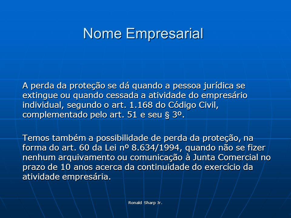 Ronald Sharp Jr. Nome Empresarial A perda da proteção se dá quando a pessoa jurídica se extingue ou quando cessada a atividade do empresário individua