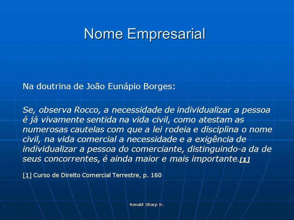 Ronald Sharp Jr. Nome Empresarial Na doutrina de João Eunápio Borges: Se, observa Rocco, a necessidade de individualizar a pessoa é já vivamente senti