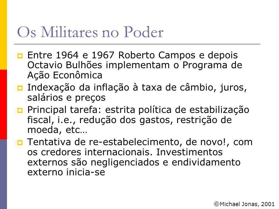 Michael Jonas, 2001 Os Militares no Poder Em 1967 assume Delfim Neto como Ministro das Finanças (1967-1974) Crescimento econômico é o novo objetivo Crédito externo barato é o principal propulsor do crescimento econômico.