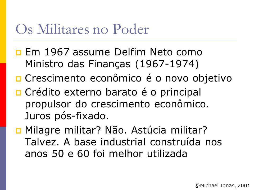 Michael Jonas, 2001 Os Militares no Poder Entre 1968 e 1973 a média de crescimento do PIB foi de 11,2% Entre 1968 e 1973 a dívida externa passou de US$ 3.780 para US$ 12.571 bilhões O sonho acaba: a amortização da dívida (a conta chegou) e a crise do petróleo acabam o milagre