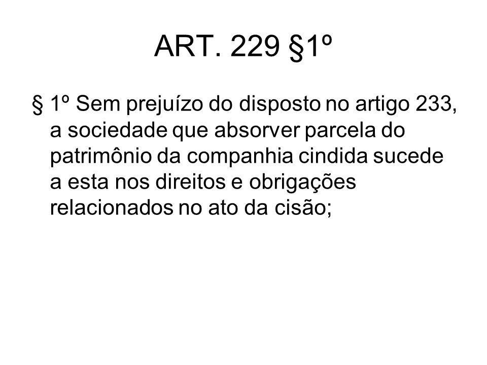 ART. 229 §1º § 1º Sem prejuízo do disposto no artigo 233, a sociedade que absorver parcela do patrimônio da companhia cindida sucede a esta nos direit
