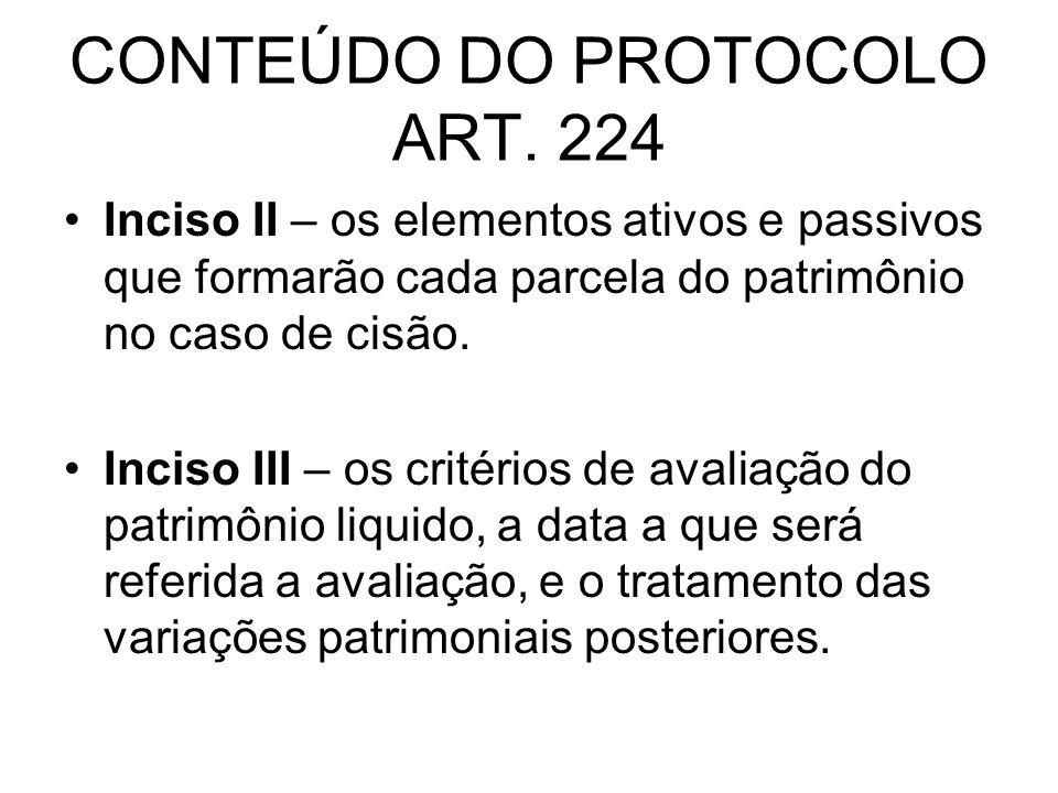 CONTEÚDO DO PROTOCOLO ART. 224 Inciso II – os elementos ativos e passivos que formarão cada parcela do patrimônio no caso de cisão. Inciso III – os cr