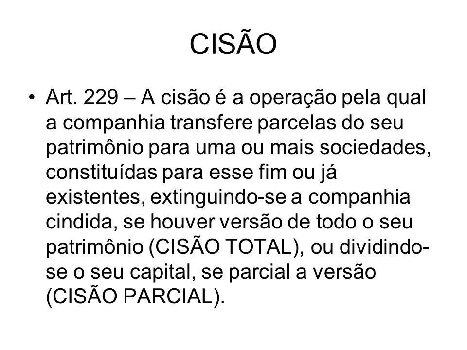 CISÃO Art. 229 – A cisão é a operação pela qual a companhia transfere parcelas do seu patrimônio para uma ou mais sociedades, constituídas para esse f