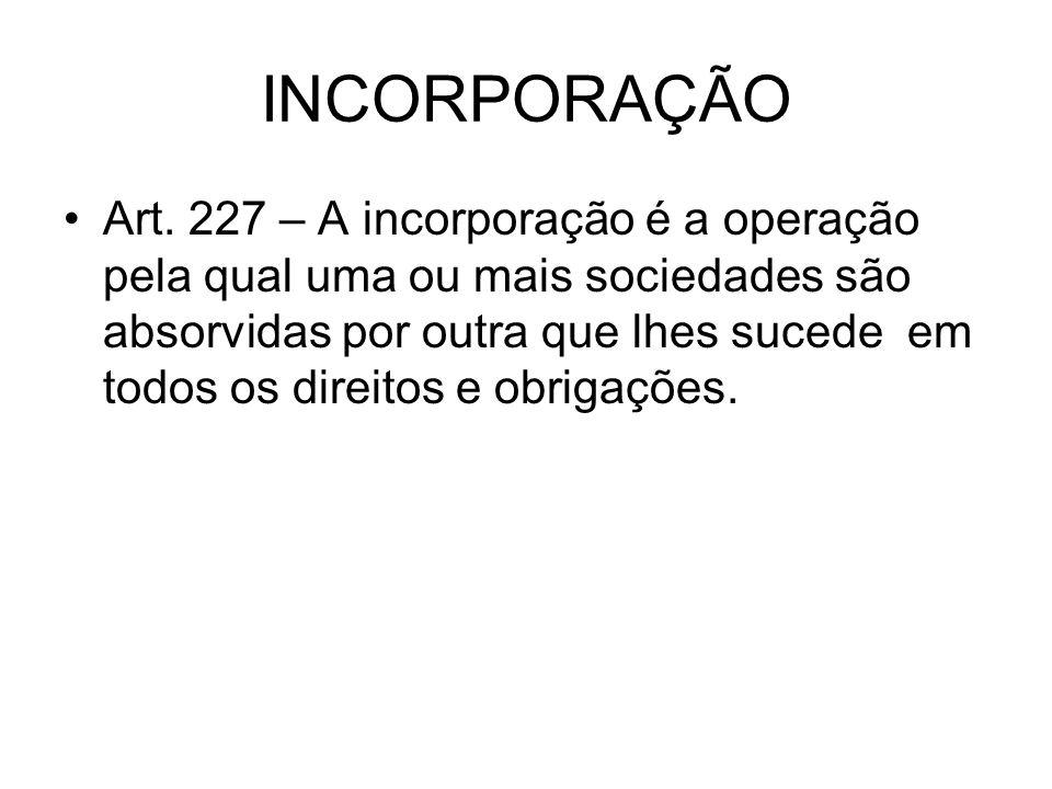 INCORPORAÇÃO Art. 227 – A incorporação é a operação pela qual uma ou mais sociedades são absorvidas por outra que lhes sucede em todos os direitos e o