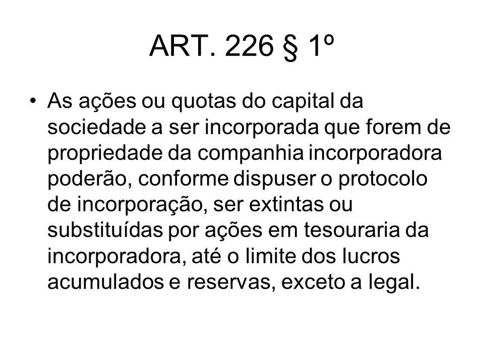 ART. 226 § 1º As ações ou quotas do capital da sociedade a ser incorporada que forem de propriedade da companhia incorporadora poderão, conforme dispu