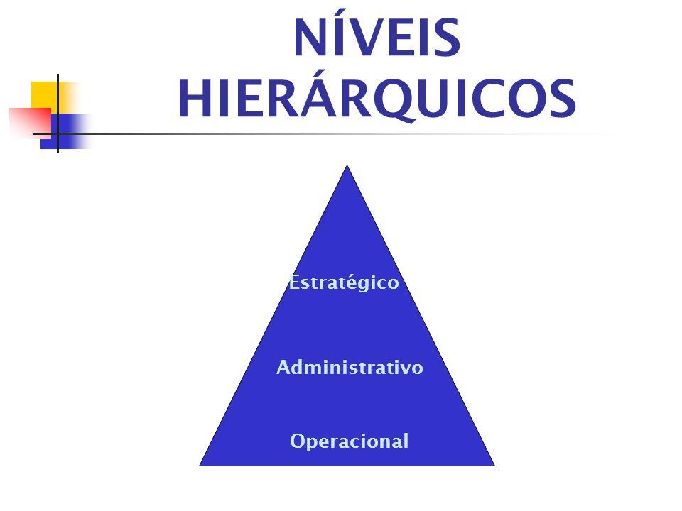 NÍVEIS HIERÁRQUICOS Estratégico Administrativo Operacional