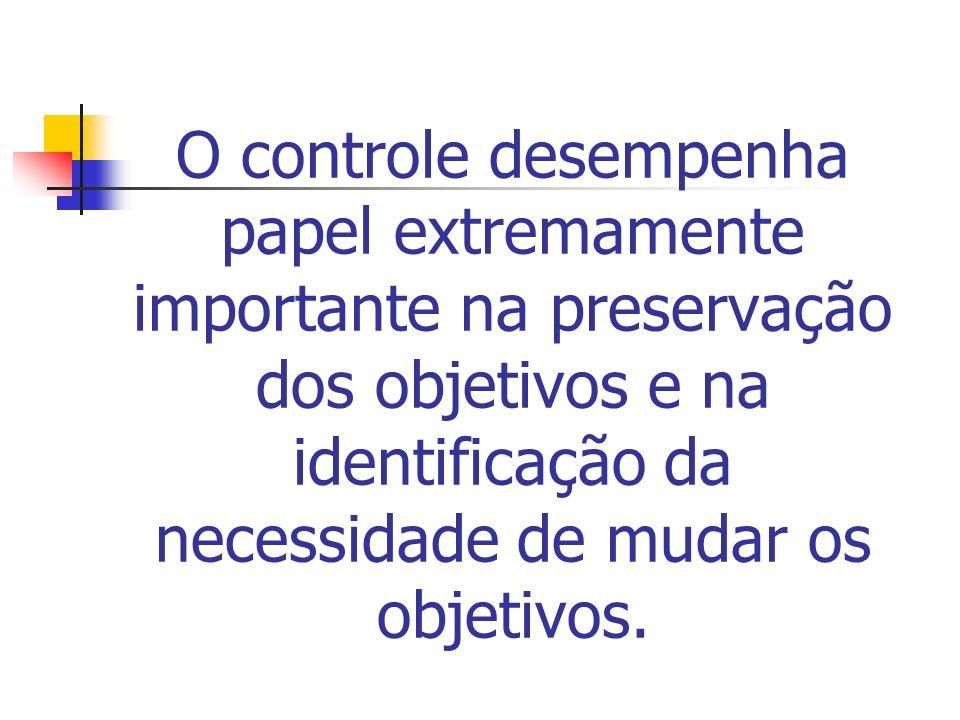 O controle desempenha papel extremamente importante na preservação dos objetivos e na identificação da necessidade de mudar os objetivos.