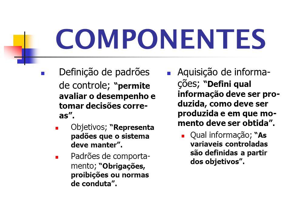 COMPONENTES Definição de padrões de controle; permite avaliar o desempenho e tomar decisões corre- as. Objetivos; Representa padões que o sistema deve