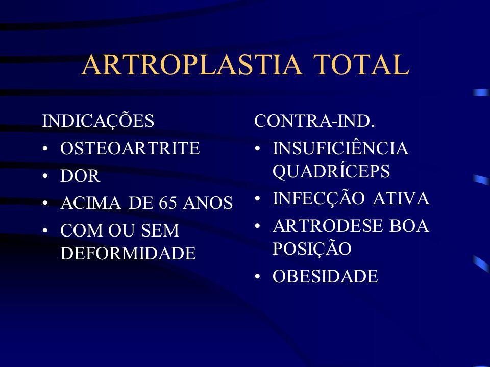 ARTROPLASTIA TOTAL INDICAÇÕES OSTEOARTRITE DOR ACIMA DE 65 ANOS COM OU SEM DEFORMIDADE CONTRA-IND.