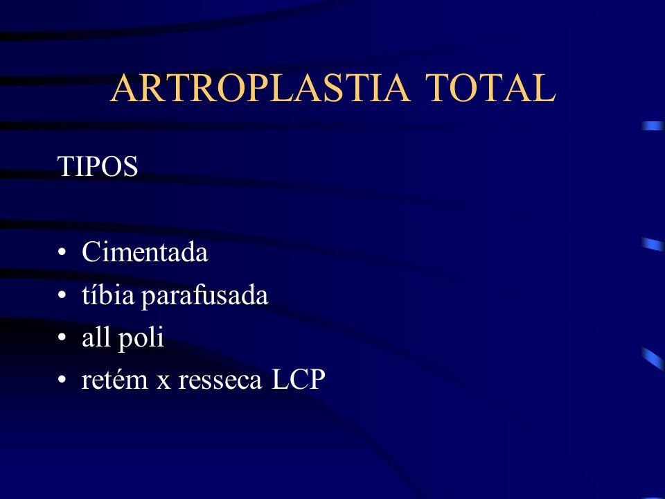 ARTROPLASTIA TOTAL TIPOS Cimentada tíbia parafusada all poli retém x resseca LCP