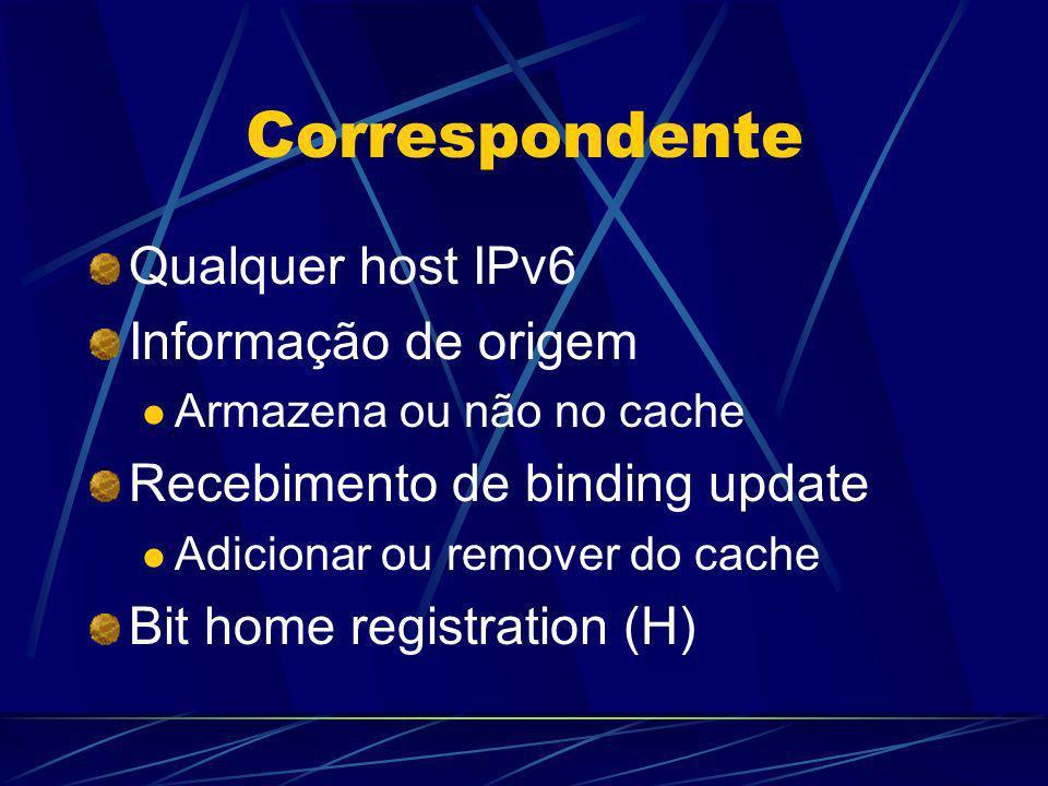 Correspondente Qualquer host IPv6 Informação de origem Armazena ou não no cache Recebimento de binding update Adicionar ou remover do cache Bit home r