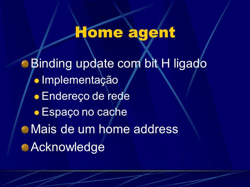 Home agent Binding update com bit H ligado Implementação Endereço de rede Espaço no cache Mais de um home address Acknowledge