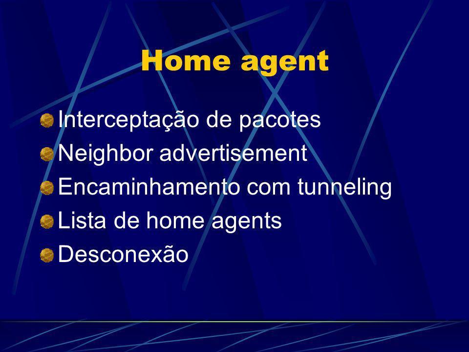 Home agent Interceptação de pacotes Neighbor advertisement Encaminhamento com tunneling Lista de home agents Desconexão