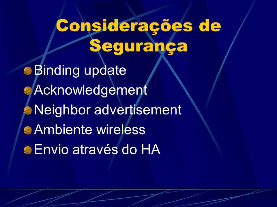 Considerações de Segurança Binding update Acknowledgement Neighbor advertisement Ambiente wireless Envio através do HA