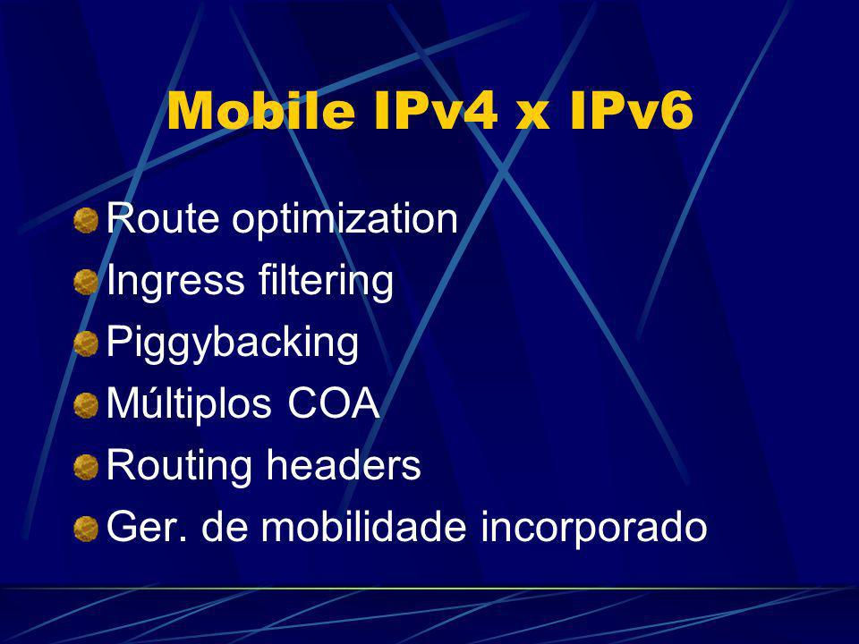 Mobile IPv4 x IPv6 Route optimization Ingress filtering Piggybacking Múltiplos COA Routing headers Ger. de mobilidade incorporado