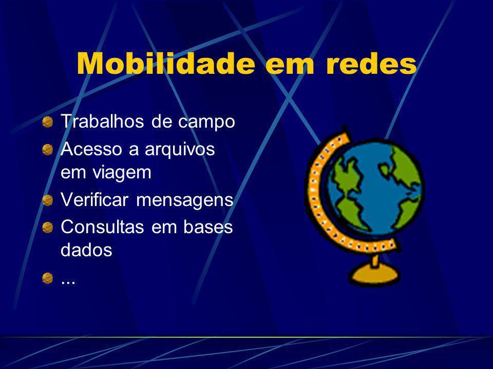 Mobilidade em redes Trabalhos de campo Acesso a arquivos em viagem Verificar mensagens Consultas em bases dados...