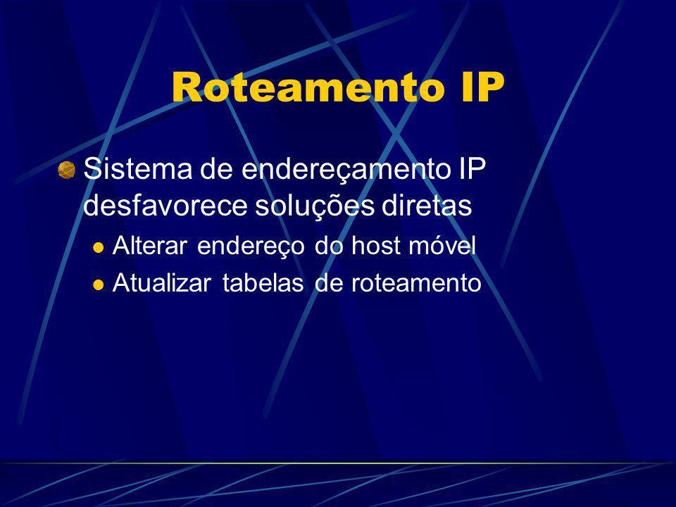 Roteamento IP Sistema de endereçamento IP desfavorece soluções diretas Alterar endereço do host móvel Atualizar tabelas de roteamento