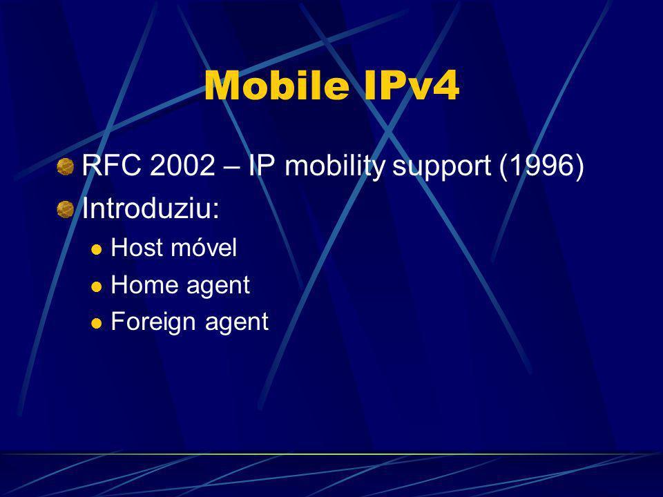 Host móvel Recepção de pacotes Encaminhados pelo HA Routing header Encaminhado pelo FA Binding updates Binding request