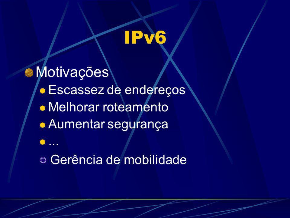 IPv6 Motivações Escassez de endereços Melhorar roteamento Aumentar segurança... Gerência de mobilidade