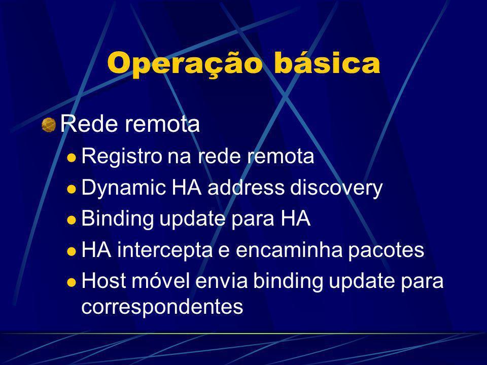 Operação básica Rede remota Registro na rede remota Dynamic HA address discovery Binding update para HA HA intercepta e encaminha pacotes Host móvel e