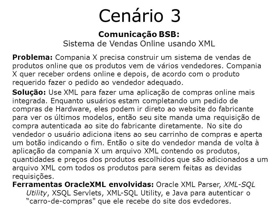 Cenário 3 Comunicação BSB: Sistema de Vendas Online usando XML Problema: Compania X precisa construir um sistema de vendas de produtos online que os p