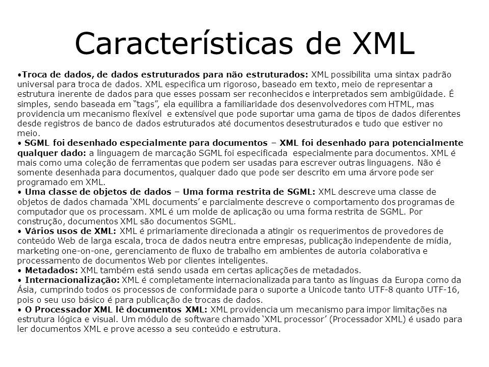 Características de XML Troca de dados, de dados estruturados para não estruturados: XML possibilita uma sintax padrão universal para troca de dados. X