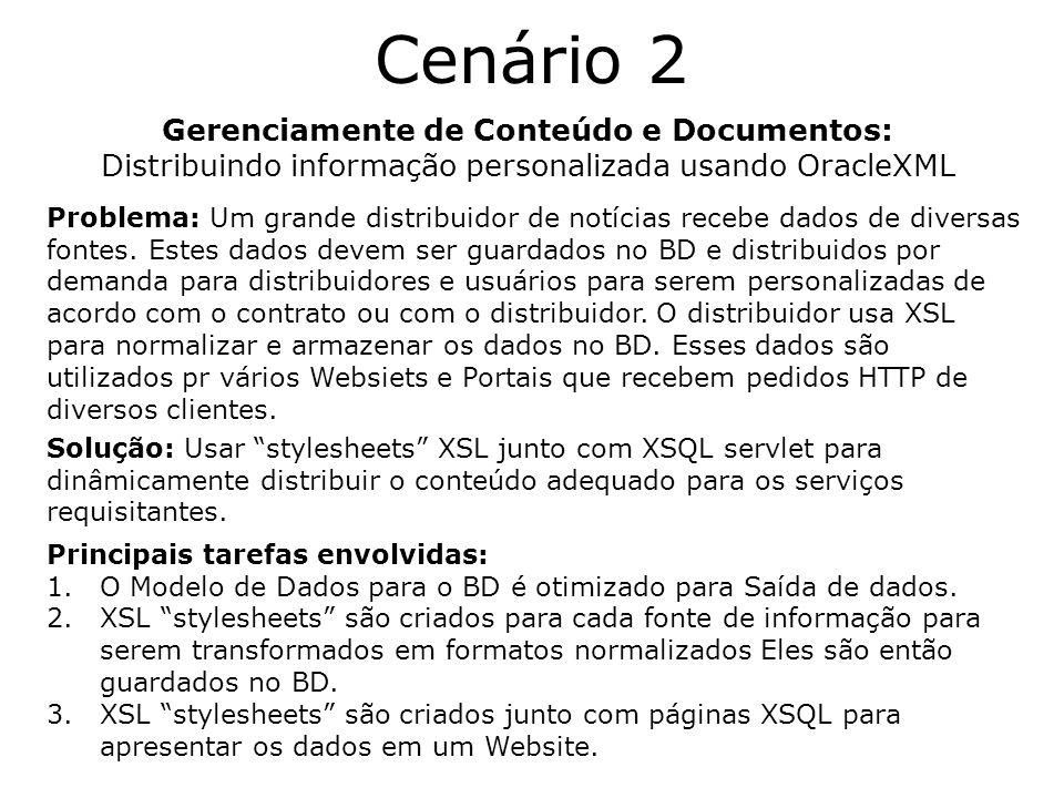 Cenário 2 Gerenciamente de Conteúdo e Documentos: Distribuindo informação personalizada usando OracleXML Problema: Um grande distribuidor de notícias