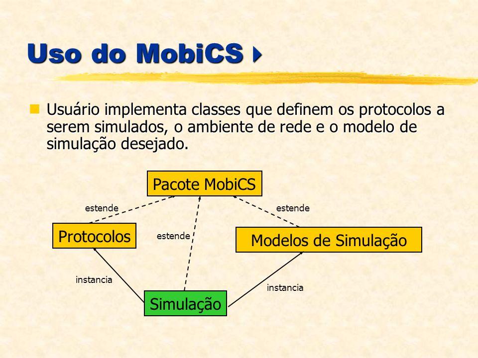 Uso do MobiCS Uso do MobiCS Usuário implementa classes que definem os protocolos a serem simulados, o ambiente de rede e o modelo de simulação desejado.