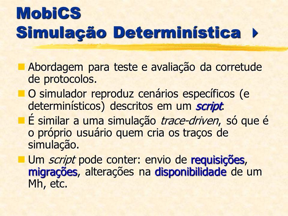 MobiCS Simulação Determinística MobiCS Simulação Determinística Abordagem para teste e avaliação da corretude de protocolos.
