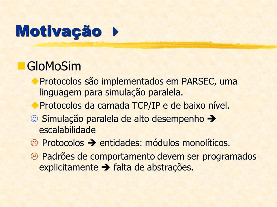 MobiCS Mobi C S MobiCS Mobile Computing Simulator Biblioteca Java Rápida prototipagem de protocolos distribuídos Biblioteca Java Rápida prototipagem de protocolos distribuídos Modelo de programação de protocolos simples e flexível Modelo de programação de protocolos simples e flexível Abstrações de programação de alto nível Abstrações de programação de alto nível Transparência total de simulação Transparência total de simulação Possibilita abstrações de mobilidade usuário pode criar seu próprio modelo de mobilidade Possibilita abstrações de mobilidade usuário pode criar seu próprio modelo de mobilidade Abordagem para teste de corretude simulações determinísticas Abordagem para teste de corretude simulações determinísticas Permite também simulação estocástica Permite também simulação estocástica