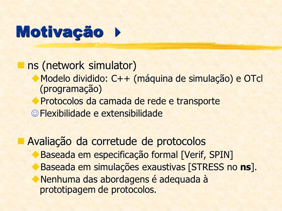 Motivação Motivação ns (network simulator) ns (network simulator) Modelo dividido: C++ (máquina de simulação) e OTcl (programação) Modelo dividido: C++ (máquina de simulação) e OTcl (programação) Protocolos da camada de rede e transporte Protocolos da camada de rede e transporte Flexibilidade e extensibilidade Flexibilidade e extensibilidade Avaliação da corretude de protocolos Avaliação da corretude de protocolos Baseada em especificação formal [Verif, SPIN] Baseada em especificação formal [Verif, SPIN] Baseada em simulações exaustivas [STRESS no ns].