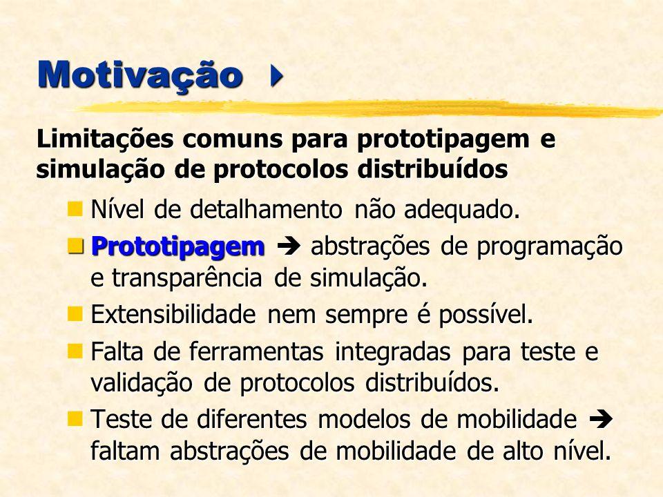 MobiCS Simulação Determinística MobiCS Simulação Determinística Não há noção de tempo desempenho dos elementos de rede é infinito.