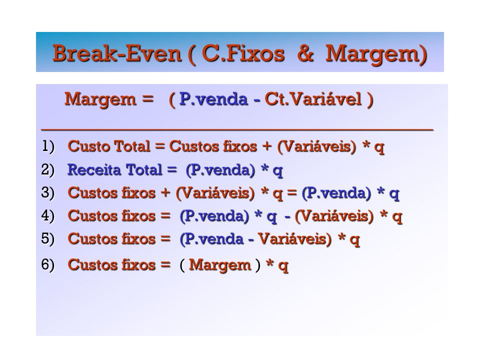 Break-Even ( C.Fixos & Margem) Margem = ( P.venda - Ct.Variável ) Margem = ( P.venda - Ct.Variável )_________________________________________________ 1) Custo Total = Custos fixos + (Variáveis) * q 2) Receita Total = (P.venda) * q 3) Custos fixos + (Variáveis) * q = (P.venda) * q 4) Custos fixos = (P.venda) * q - (Variáveis) * q 5) Custos fixos = (P.venda - Variáveis) * q 6) Custos fixos = ( Margem ) * q