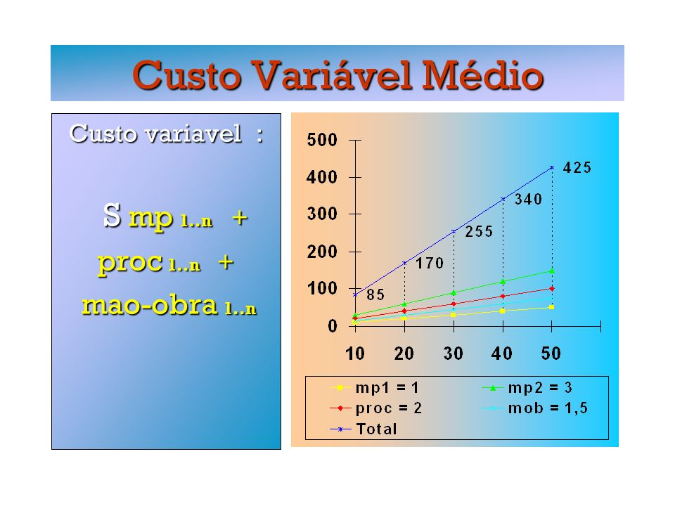 Custo Variável Médio Custo variavel : S mp 1..n + S mp 1..n + proc 1..n + mao-obra 1..n mao-obra 1..n