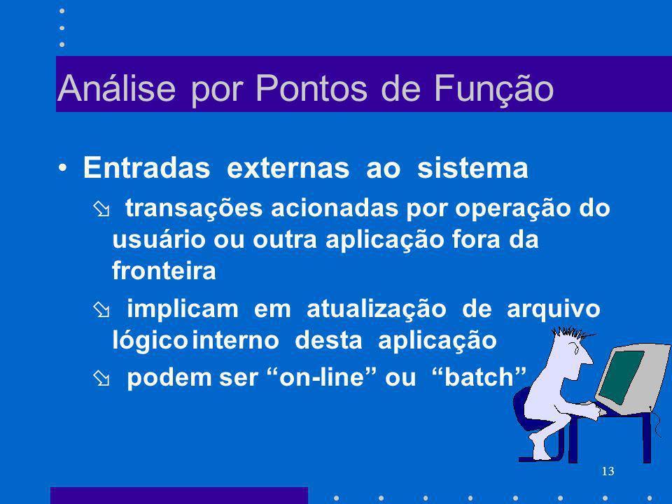 13 Análise por Pontos de Função Entradas externas ao sistema transações acionadas por operação do usuário ou outra aplicação fora da fronteira implica