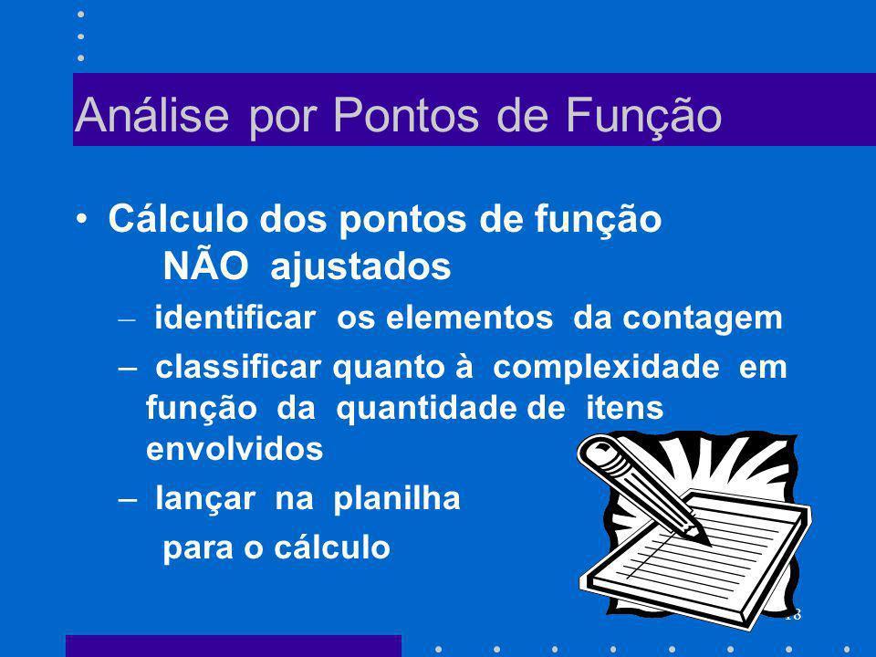 18 Análise por Pontos de Função Cálculo dos pontos de função NÃO ajustados – identificar os elementos da contagem – classificar quanto à complexidade