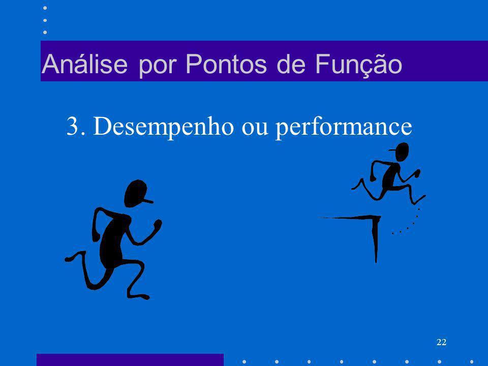 22 Análise por Pontos de Função 3. Desempenho ou performance