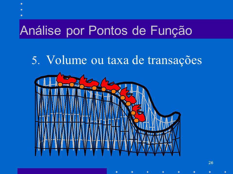 26 Análise por Pontos de Função 5. Volume ou taxa de transações