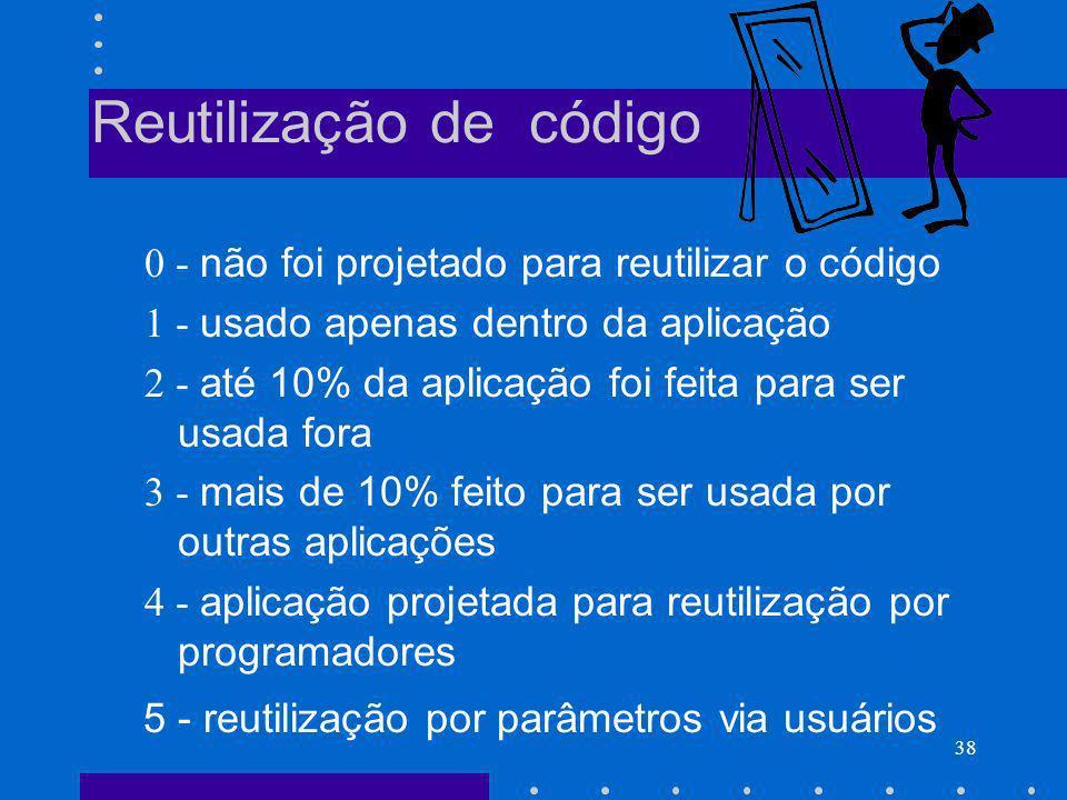38 Reutilização de código 0 - não foi projetado para reutilizar o código 1 - usado apenas dentro da aplicação 2 - até 10% da aplicação foi feita para