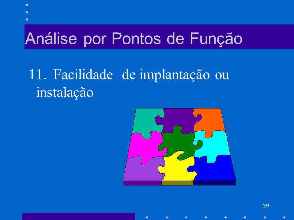 39 Análise por Pontos de Função 11. Facilidade de implantação ou instalação