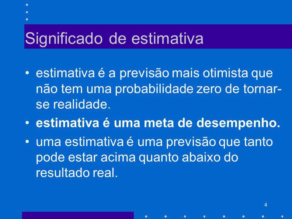 4 Significado de estimativa estimativa é a previsão mais otimista que não tem uma probabilidade zero de tornar- se realidade. estimativa é uma meta de