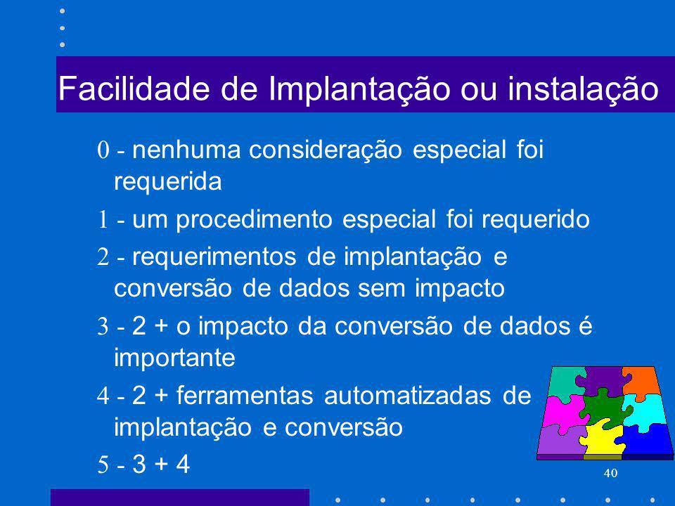 40 Facilidade de Implantação ou instalação 0 - nenhuma consideração especial foi requerida 1 - um procedimento especial foi requerido 2 - requerimento