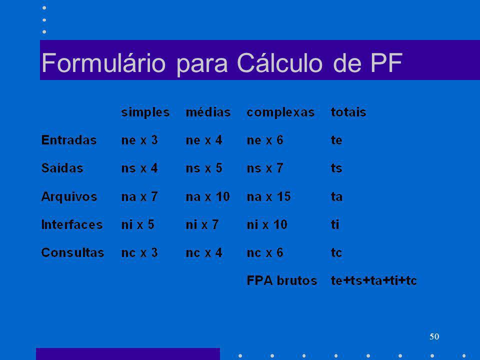 50 Formulário para Cálculo de PF