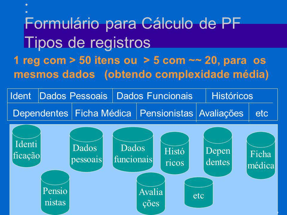 52 Formulário para Cálculo de PF Tipos de registros 1 reg com > 50 itens ou > 5 com ~~ 20, para os mesmos dados (obtendo complexidade média) Ident Dad