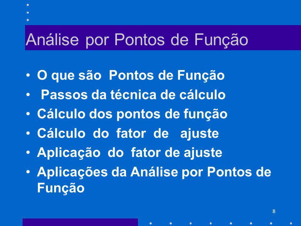 8 Análise por Pontos de Função O que são Pontos de Função Passos da técnica de cálculo Cálculo dos pontos de função Cálculo do fator de ajuste Aplicaç
