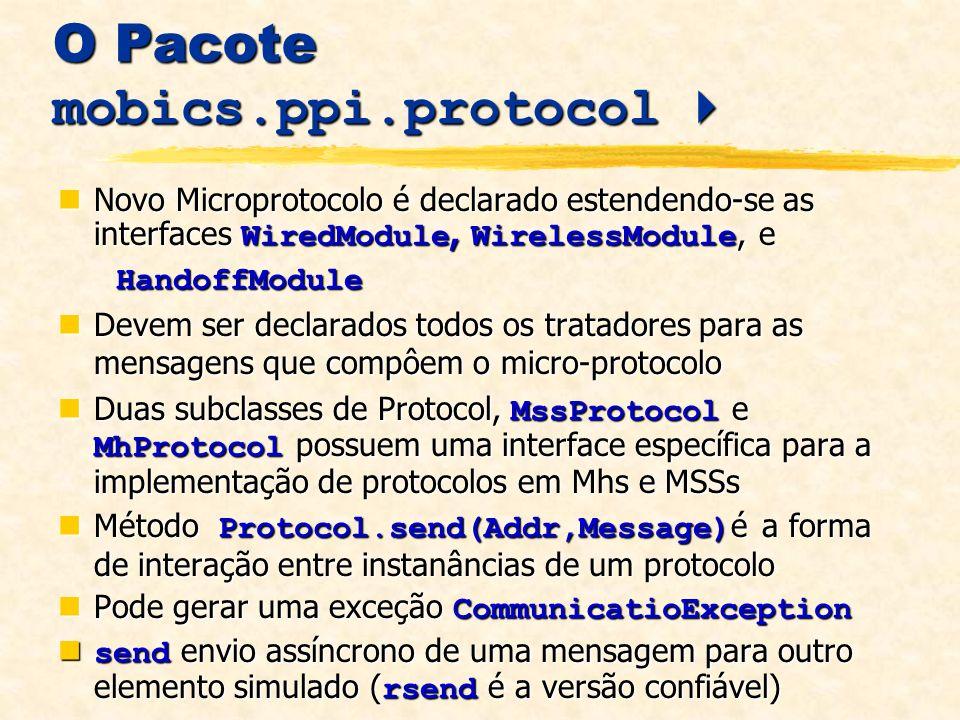 O Pacote mobics.ppi.protocol O Pacote mobics.ppi.protocol Novo Microprotocolo é declarado estendendo-se as interfaces WiredModule, WirelessModule, e Novo Microprotocolo é declarado estendendo-se as interfaces WiredModule, WirelessModule, e HandoffModule HandoffModule Devem ser declarados todos os tratadores para as mensagens que compôem o micro-protocolo Devem ser declarados todos os tratadores para as mensagens que compôem o micro-protocolo Duas subclasses de Protocol, MssProtocol e MhProtocol possuem uma interface específica para a implementação de protocolos em Mhs e MSSs Duas subclasses de Protocol, MssProtocol e MhProtocol possuem uma interface específica para a implementação de protocolos em Mhs e MSSs Método Protocol.send(Addr,Message) é a forma de interação entre instanâncias de um protocolo Método Protocol.send(Addr,Message) é a forma de interação entre instanâncias de um protocolo Pode gerar uma exceção CommunicatioException Pode gerar uma exceção CommunicatioException send envio assíncrono de uma mensagem para outro elemento simulado ( rsend é a versão confiável) send envio assíncrono de uma mensagem para outro elemento simulado ( rsend é a versão confiável)
