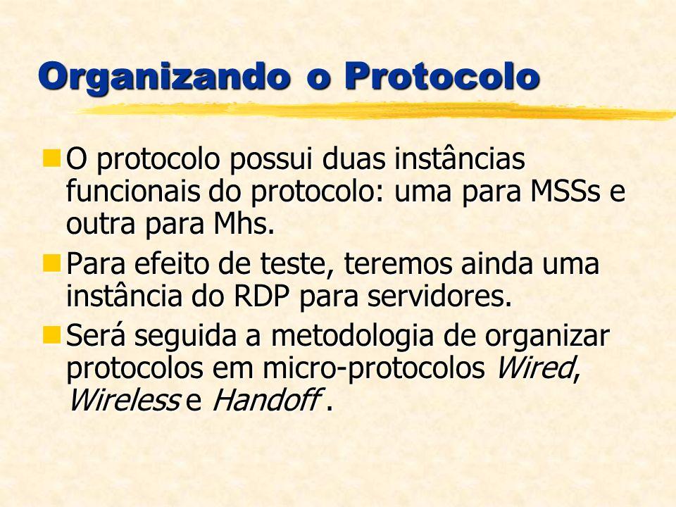 Organizando o Protocolo O protocolo possui duas instâncias funcionais do protocolo: uma para MSSs e outra para Mhs.