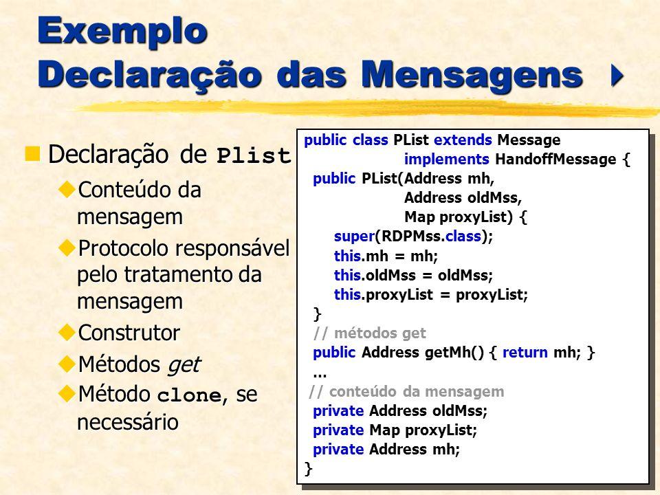 Exemplo Declaração das Mensagens Exemplo Declaração das Mensagens Declaração de Plist Declaração de Plist Conteúdo da mensagem Conteúdo da mensagem Pr