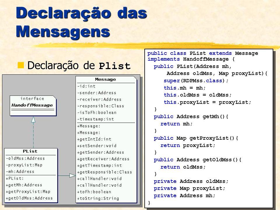 Declaração das Mensagens Declaração de Plist Declaração de Plist public class PList extends Message implements HandoffMessage { public PList(Address m